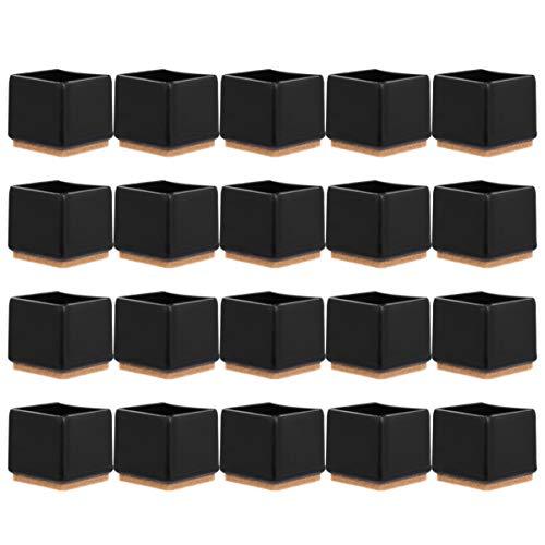Cabilock 20 Piezas Claro Muebles de Mesa Patas Pies Consejos Fundas Tapas Silla Cuadrada Protectores de Suelo de Patas Almohadillas de Fieltro Protector de Suelo de Madera Negro