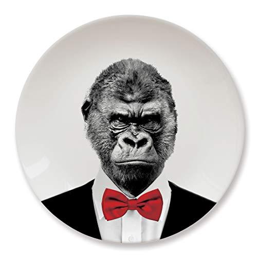 Mustard Piatto da Portata in Ceramica I Piatto per Torte e Dolci I Idea Regalo per casa - Bianco Wild Dining Gorilla