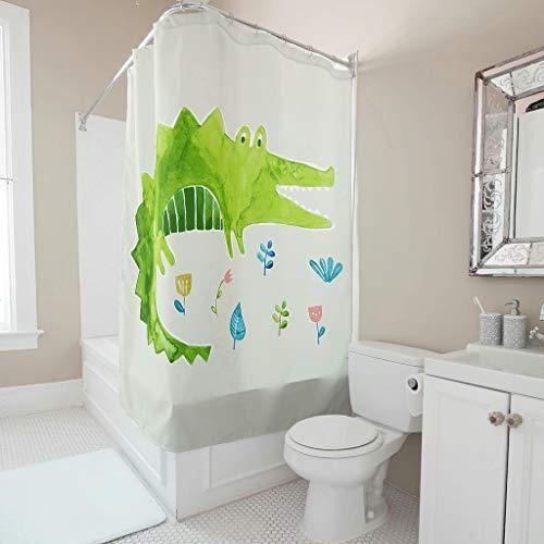 Duschvorhang Bad Vorhänge Karikatur Tier Grünes Krokodil 3D Digital Hotel Haus Vorhang Badezimmer Decor Badvorhang mit Vorhanghaken White 120x200cm