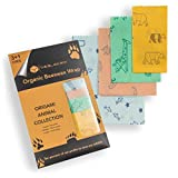Organic Bees Wax Wrap - Set of 4 -Reusable Sustainable Plastic & Paper Alternative - Beeswax Wrap for Food Storage & Sandwich Wrapping - Eco Friendly -10% of Net Profit to Save Wildlife