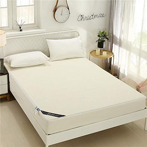 GTWOZNB Pure Cotton Fitted Sheet Double Breathable Bed Sheet 3D Embossed Full Cover Waterproof Sheet-Beige_150cm*200cm