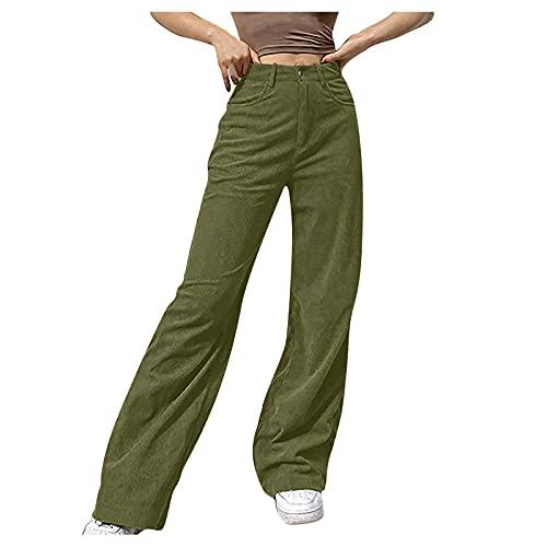 ZAKIO Women's Y2K Baggy Jeans High Waist Corduroy Wide Leg Pants Straight Denim Jeans Loose Fit Casual Streetwear Jeans Green