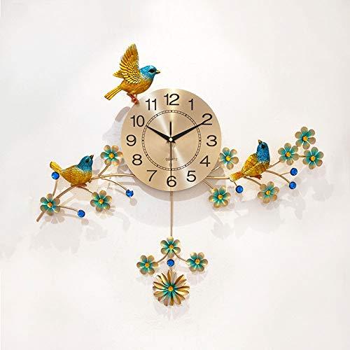 YZJL Metall Wanduhr Kreative Wohnzimmer-Dekoration Vogel Clock Mute-Quarz-Taktgeber