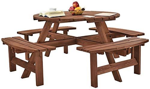 RANGSTOCKRR 8 Tables de Pique-Nique Rondes en Bois et bancs,A