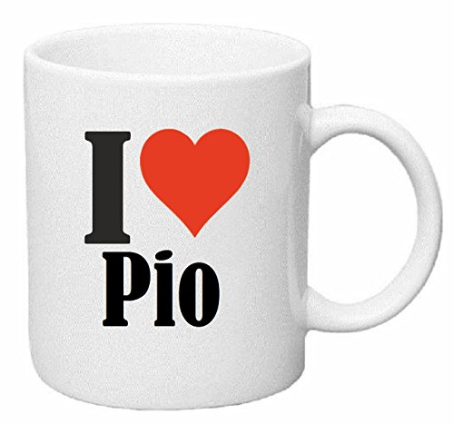 Reifen-Markt Kaffeetasse I Love Pio Keramik Höhe 9,5cm ? 8cm in Weiß