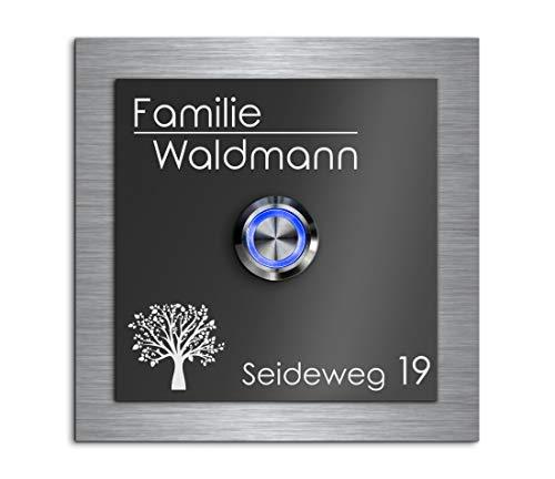 Türklingel mit Namen Gravur freier Motivauswahl frei gestaltbar und LED Klingel-Knopf Schild Haustür-Klingel mit Namen beschriftet 9x9 cm Modell Waldmann-A