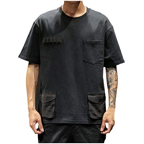 REALIKE T-Shirt Herren Arbeitskleidung Oberteile Kurzarm Hemd mit Mehrere Taschen Slim Fit Top Moderner Männer Rundhals-Ausschnitt Sweatshirt Sport Bequem Atmungsaktiv Viele Farben Blusen