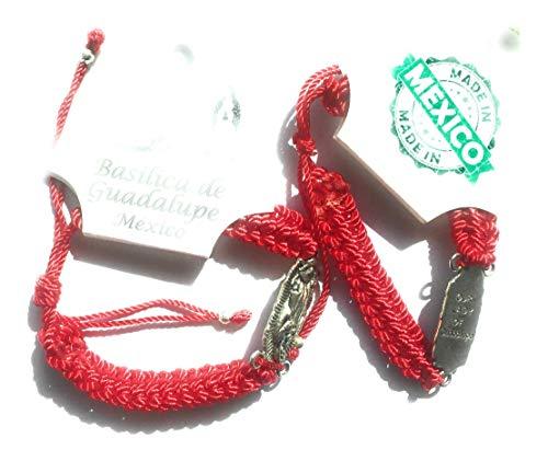 Grahmart Pack de 2 Pulseras Rojas: Medalla de Tono Plateado San Benito Virgen María y San Jude