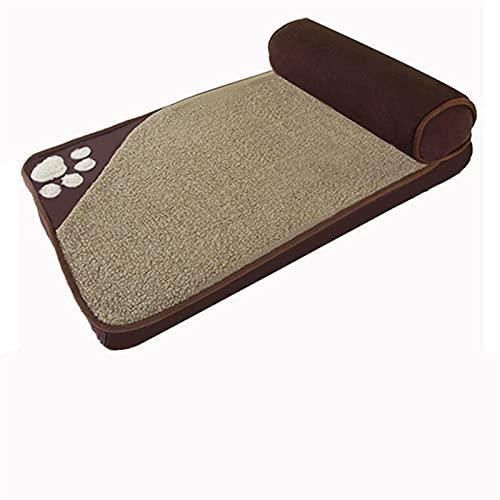 FUBINMY Huisdier Bed 2020 Mode Klassieke Huisdier Nest Pad Grote en Kleine Huisdier Bed Comfortabel Kussen Bed Grote Afneembare Zachte Huisdier Bank (Kleur: Bruin, Maat: S)