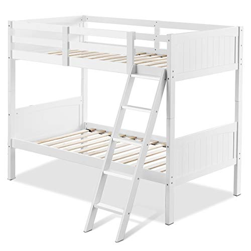 Casart Wooden Bunk Bed, Twin Over Beds with Ladder and Safety Rail, Convertible 2 Individual Twin Beds, Perfect for Kids (White)