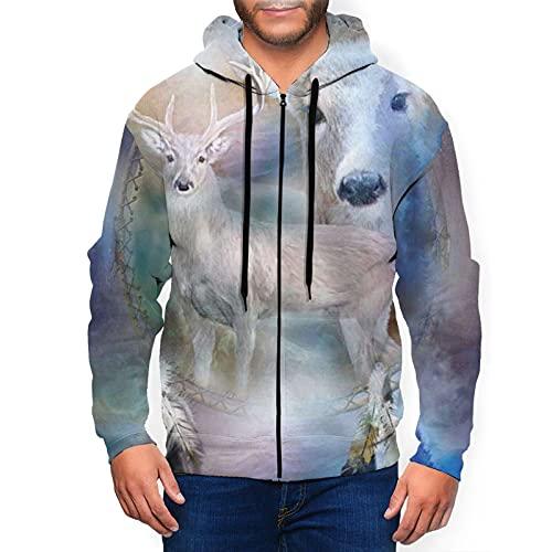 Sudadera con capucha para hombre Spirit Of The White Deer Sudadera con capucha 3d Impreso Chaqueta Cremallera Pullover Sudadera Camisa