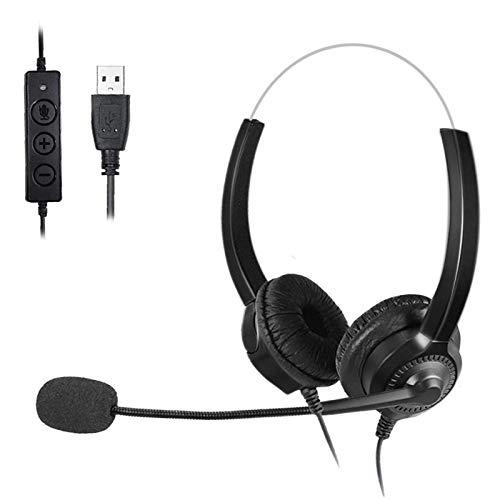 Auriculares - USB Auriculares con Microfono, Sonido Estéreo y Micrófono USB con Supresión de Ruido, Controles Integrados en el Cable, PC/Mac/Portátil