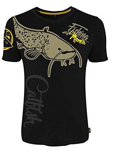 HOTSPOT DESIGN Fishing Mania Catfish, L, Negro, Camiseta, para Pescadores de bagre, 010000603