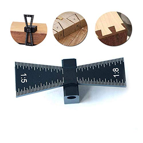 Volwco Dovetail Marker,Dovetail Marking Gauge with Scale,Aluminum Dovetail Jigs Hand Cut Joints Dovetail Guide Tool, Dovetail Template Size 1:5 and 1:8 for Woodworking