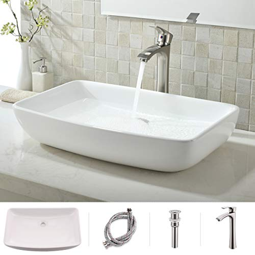 VOKIM Round Bathroom Sink and Faucet Combo -White Round Above Counter Porcelain Ceramic Bathroom Countertop Bowl Lavatory Vanity Vessel Sink Basin, Brushed Nickel Faucet Matching Pop Up Drain Combo