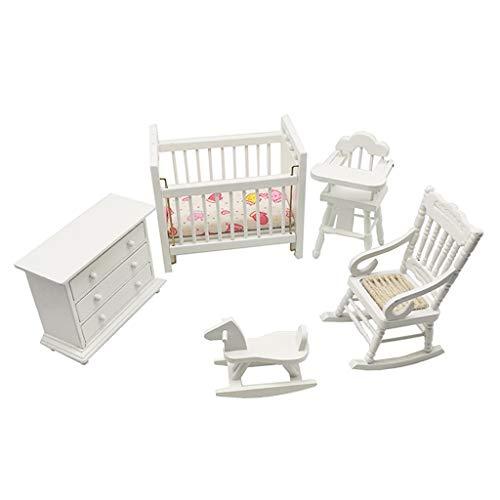 F Fityle 4 Juegos de Muebles en Miniatura de Casa de Muñecas 1/12, Mecedora, Cama para Niños, Armario, Caballo Mecedora