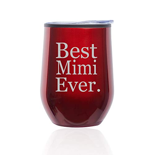 Stemless Wine Tumbler Coffee Travel Mug Glass With Lid Best Mimi Ever (Red)