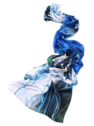 prettystern Damen-Schal langer Satin 100% Seide bunter Seiden-Stola für Abendmode- Seerosen Teich Weiß Blau Z08