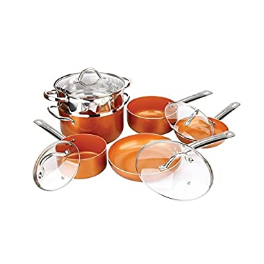 Copper H-02628 Pan 10-Piece Luxury Induction Cookware Set Non-Stick, 21.5 x 11.5 x 11 inches