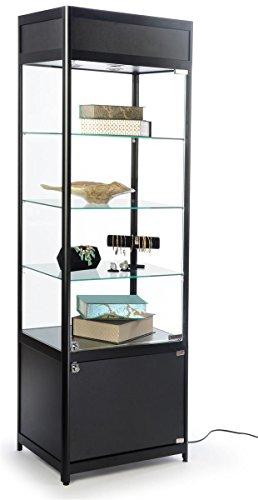 Displays2go Glass Display Case, Adjustable Shelves, Locking Door, Cabinet Base, Black (SCTWR2418BK)