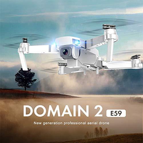 L9WEI E59 RC dron con cámara HD, WiFi, FPV RC, cuadricóptero, altura plegable, dron plegable, 2,4 G, selfie (blanco, A)