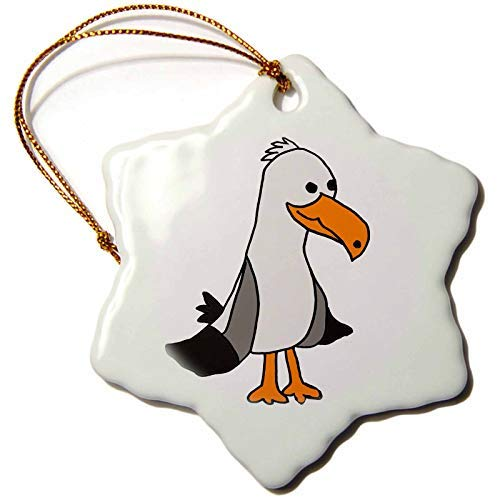 Sandy66Twain Cute Funny Unique Seagull Beach Cartoon Ceramic Christmas Tree Hanging Ornaments Xmas Gifts For Friends Kids Women
