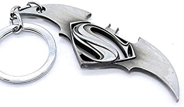 Batman vs. Superman: [DAWN OF JUSTICE] *NEW* Metal Symbol Key chain Durable Collector's Item (Silver) ★★US SELLER★★