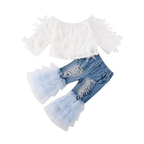 Longfei Jeans-Outfit für Kleinkinder, Mädchen, 2-teilig, schulterfrei, weißes Hemd, Oberteil, Tüll, Jeans, Baby, Mädchen, Kleidungsset Gr. 2-3 Jahre, weiß