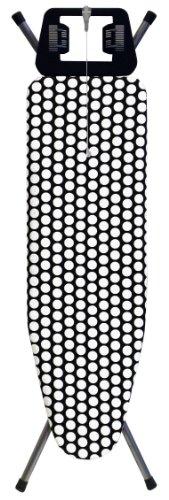 Rolser 910786 Bügeltisch K-Dos 120 x 38 cm mit Steckdose Dekor Punkte, schwarz-weiß