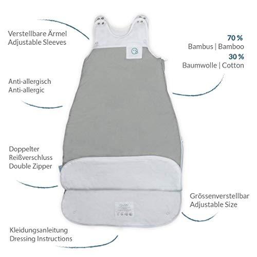 VABY – Baby Schlafsack, OEKO-TEX ®, aus Baumwolle und Bambus, Ganzjahres Schlafsack, Babyschlafsack verstellbar, für Neugeborene bis zu max. 2 Jahren, mitwachsend, Junge und Mädchen, 2.5 TOG (Grau) - 6