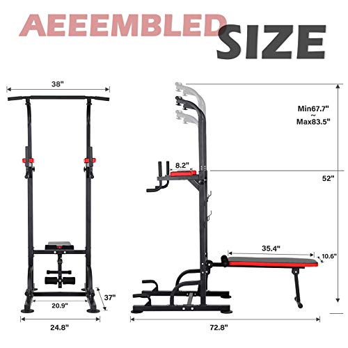 KAC Power Tower with Weight Bench, Adjustable Dip Station, Pull Up Bar for Home Gym Strength Training Workout Equipment