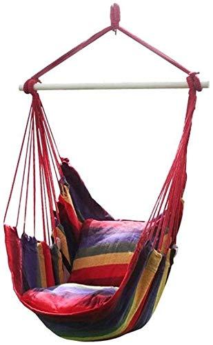 Silla columpio roja, tejido de algodón de 150 kg, con excelente comodidad y durabilidad, muy adecuada para interiores y exteriores, dormitorio familiar, terraza, jardín (tres tamaños) (tamaño: L)