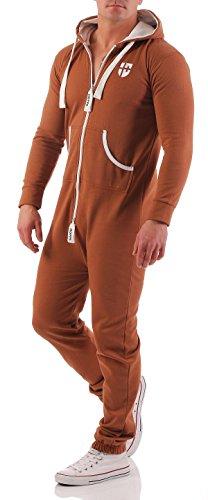 Gennadi Hoppe Herren Jumpsuit Onesie Jogger Einteiler Overall Jogging Anzug Trainingsanzug Slim Fit,Camel,Large