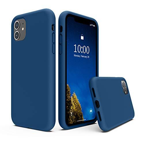 SURPHY Cover Compatibile con iPhone 11, Custodia per iPhone 11 Silicone Liquido Cover Antiurto con Fodera in Microfibra, Full Body Protettiva Case per iPhone 11 6.1'(2019), Blu Orizzonte