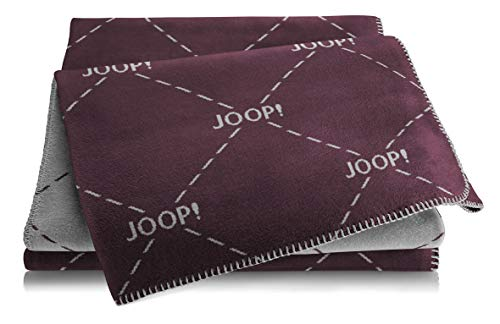 Joop!® Kuschel-Decke Signature Bordeaux-Graphit I Flauschige Wohndecke aus Baumwoll-Mischgewebe I Tagesdecke 150x200 cm I Öko-Tex Standard 100 I nachhaltig produziert I Wendedecke mit Allover-Design