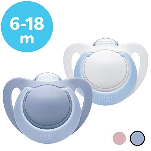 NUK 10176186 Genius Silikon-Schnuller, kiefergerechte Form, 6-18 Monate, 2 Stück, Boy, blau