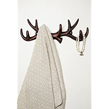 Vintage Cast Iron Deer Antlers Wall Hooks by Comfify | Antique Finish Metal Clothes Hanger Rack w/Hooks | Includes Screws and Anchors