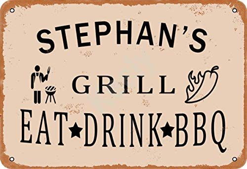 Keely Stephan'S Grill Eat Drink BBQ Metall Vintage Zinn Zeichen Wanddekoration 12x8 Zoll für Cafe Bars Restaurants Pubs Man Cave Dekorativ