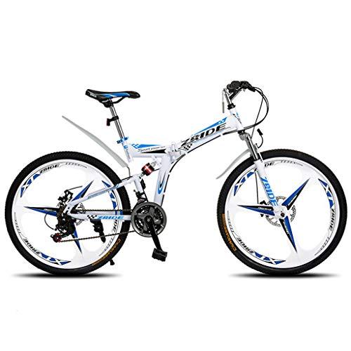 Unbekannt Mountainbike 30 Geschwindigkeit Mountainbike 24In ~ 26-Zoll-Full-Suspension Faltrad, Weiß Blau,24in