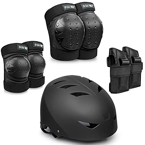 G4Free Youth Adult Skate Helmet, Protective Gear with Elbow Knee Wrist Pads for Multi-Sports Skateboarding Bike Riding Hiking Scooter Inline skatings Longboard