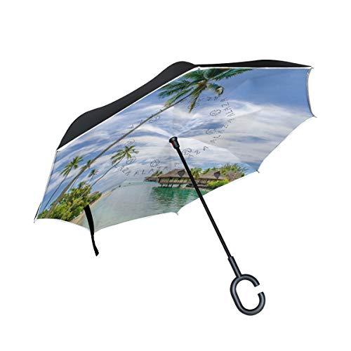 FANTAZIO inversé Parapluie Plage Bains de Soleil Double Couche UV Protection Parapluie Envers Self-Stand Poignée en Forme de C à lenvers Plier/déplier Coupe-Vent et Hydrofuge