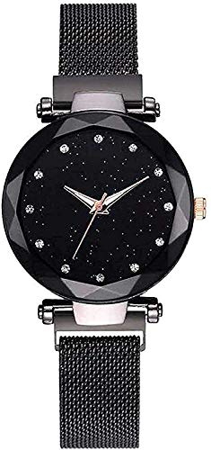 Mr. Brand Magnetic Strap Styish Luxury Analog Watch for Women and Girl's (Black)