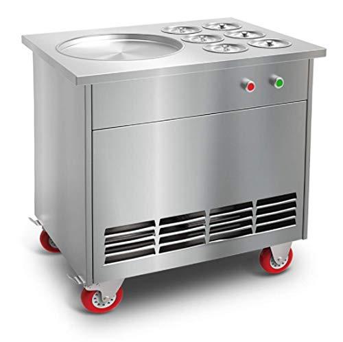 TZ® Eis Roll Maschine mit meizhi Kompressor Gebraten Eis maschine 1.5KW Rolle Eis Maschine für Fruchteis Joghurtmilch 1 Pfanne 6 Eimer (110V/60HZ)