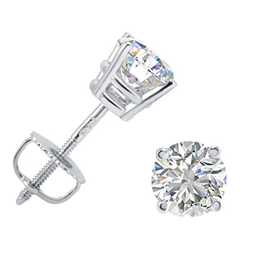AGS Certified 1ct TW (E-F Color) Round Diamond Stud Earrings in 14K White Gold