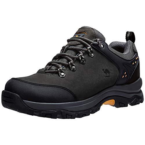 CAMEL CROWN Herren/Damen Leder Wanderschuhe wasserdicht Rutschfeste Outdoor Trail Trekking Schuhe,Grau,44 EU