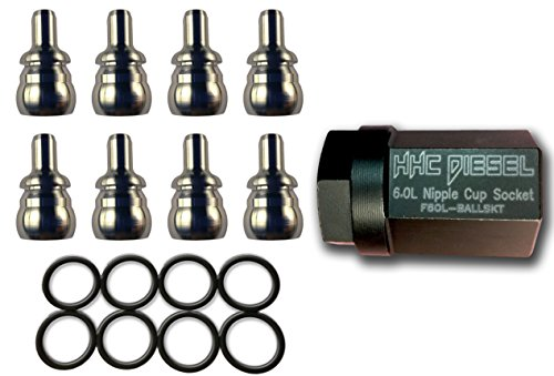 HHC Diesel ~ Ford 6.0L Indestructible Nipple Cup Master Kit ~ Everything You Need to Rebuild Your Oil Rail With Tool & Ball Tubes(8: Nipples, 8: Seals & Tool) F60L-NIPPLEKIT