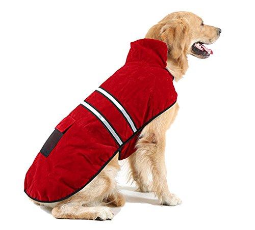 OHF ペット服 冬用 反射 ドッグウェア ジャケット 中大型犬 裏毛 防寒 パーカー (レッド, XXL)