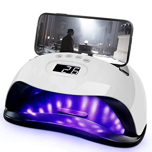Nageltrockner mit Telefonhalter, 168W UV/LED Nagellampe für Gelnägel mit 4 Timer Einstellungen Infrarot Sensor LCD Display Trocknender Nagellampe für Fingernagel & Zehennagel Nageldesign, für alle Gel