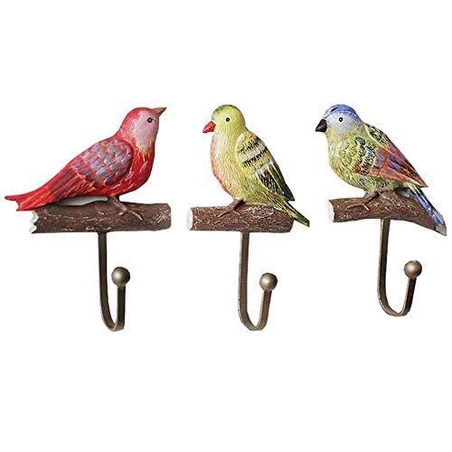 JIAJBG Juego de 3 ganchos decorativos rústicos coloridos pájaros en una rama, de resina, para colgar en la pared, ganchos para colgar ropa, toallero, bolsa, dormitorio, puerta Retro/rústico
