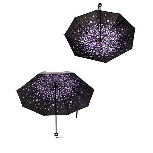 Chunjiao DREI Falten schwarzen Regenschirm Sonnenschirm Regenschirm Ganzkörper-Regenschirm Trendy Regenmantel Sonnenschutz und wasserdicht, Lila paraguas
